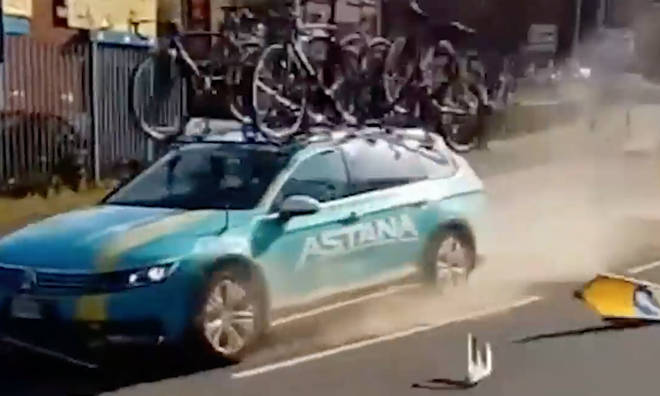 The support car managed to keep control after the crash