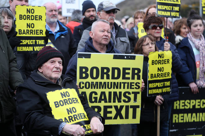 Border Communities Against Brexit holding protests against a hard border on Old Belfast Road in Carrickcarnon on the northern side of the Irish border, between Newry and Dundalk.