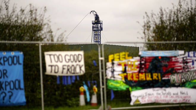 Anti-fracking banners outside the Cuadrilla fracking site