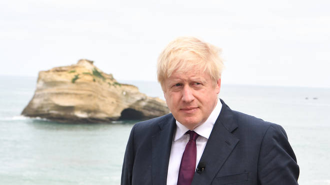 Prime Minister Boris Johnson at the G7 Summit in Biarritz in France