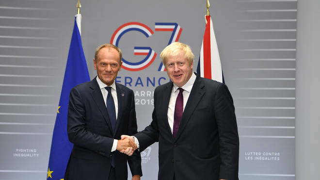 Prime Minister Boris Johnson met with European Council President Donald Tusk at the G7 Summit