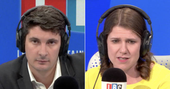 Tom Swarbrick and Jo Swinson in the LBC studio