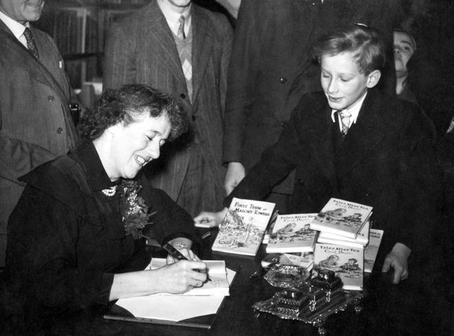 Popular author of children's books, Enid Blyton in Hatchards, Piccadilly, London, where she gave a talk 'for children only', adults not being admitted.