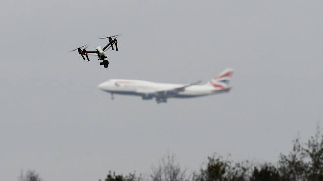 A drone flying near Heathrow Airport