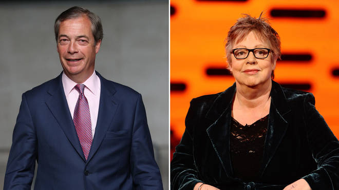 Jo Brand made the joke when talking about milkshake being thrown at Nigel Farage