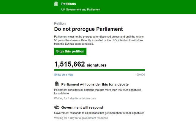 Petition To Stop Boris Johnson Suspending Parliament Reaches 1.5m Signatures
