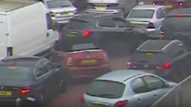 Stolen Mini careers into queue of cars