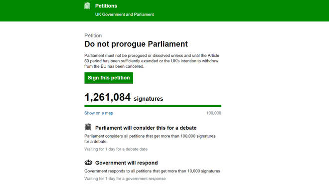 "Screen grab taken from the UK Government and Parliament petitions website of a petition titled ""Do not prorogue Parliament"" which has 1.2 million signatures calling for Prime Minister Boris Johnson not to suspend Parliament."