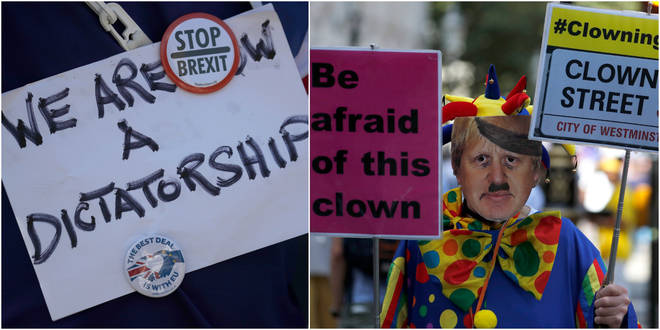 Political opposition to Prime Minister Boris Johnson's move to suspend Parliament is crystalizing, with protests around Britain and a petition to block the move gaining more than 1 million signatures.
