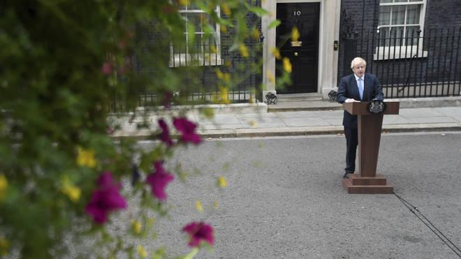 Boris Johnson speaking outside Downing Street