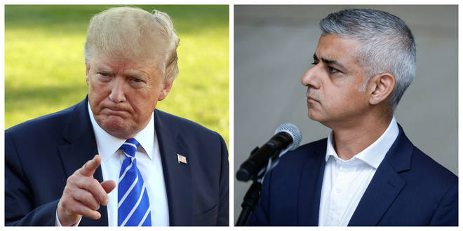 Donald Trump has hit out at Sadiq Khan over the London Mayor's comments about hurricane Dorian