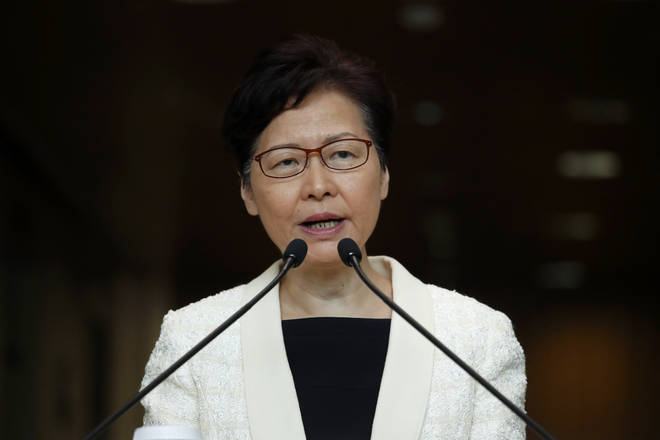 Hong Kong Chief Executive Carrie Lam speaks during a press conference in Hong Kong.
