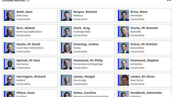 These are the Tory MPs who voted against Boris Johnson last night