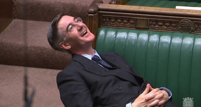 Jacob Rees-Mogg was condemned for his relaxed posture during the debate