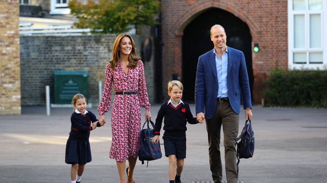 The family beamed as they walked through the school gates