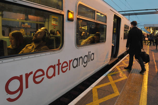 The train was on the Liverpool Street to Southend line with its door open.