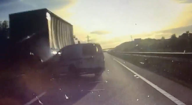 Van crashes into lorry