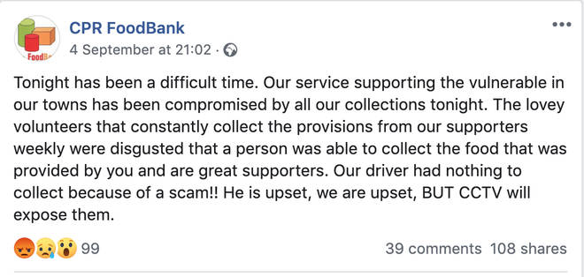 The foodbank released a statement on their Facebook page