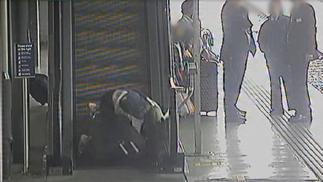 CCTV has captured a number of accidents involving escalators and heavy luggage.