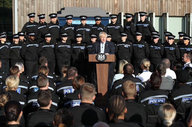 The Prime Minister was criticised for his speech in front of police officers