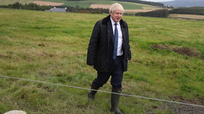 Boris Johnson on a visit to a farm near Aberdeen last week