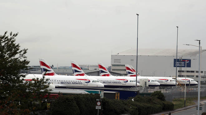 British Airways planes parked at the Engineering Base at Heathrow Airport on day one of the strike