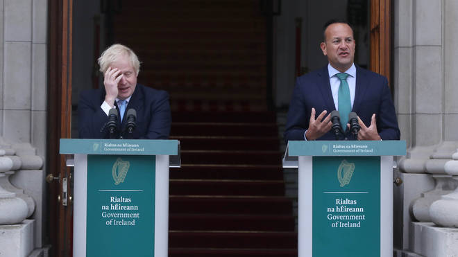 Boris Johnson and Leo Varadkar in Dublin today