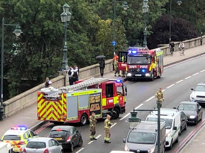 Emergency services at the scene on Kew Bridge