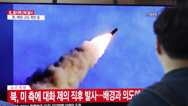 North Korea launched at least two unidentified projectiles on Monday