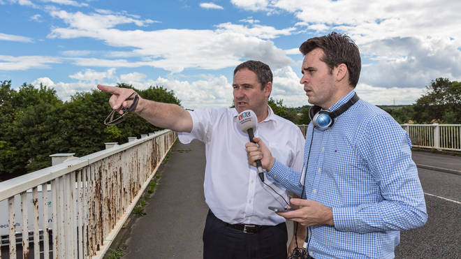 Local residents show LBC's Vincent McAviney the proposed HS2 route in Yorkshire