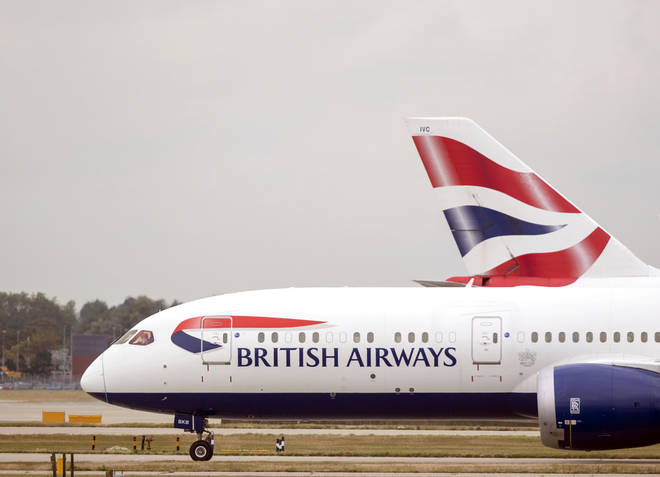 British Airways planes at Terminal Five at Heathrow Airport, London, on day one of the first-ever strike by British Airways pilots.