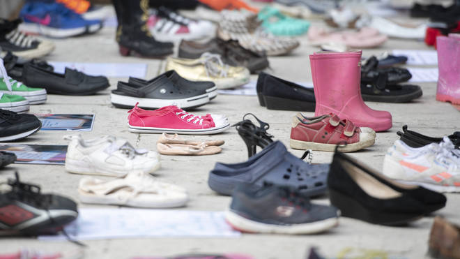 200 pairs of shoes were laid out near Parliament to represent children lost to suicide