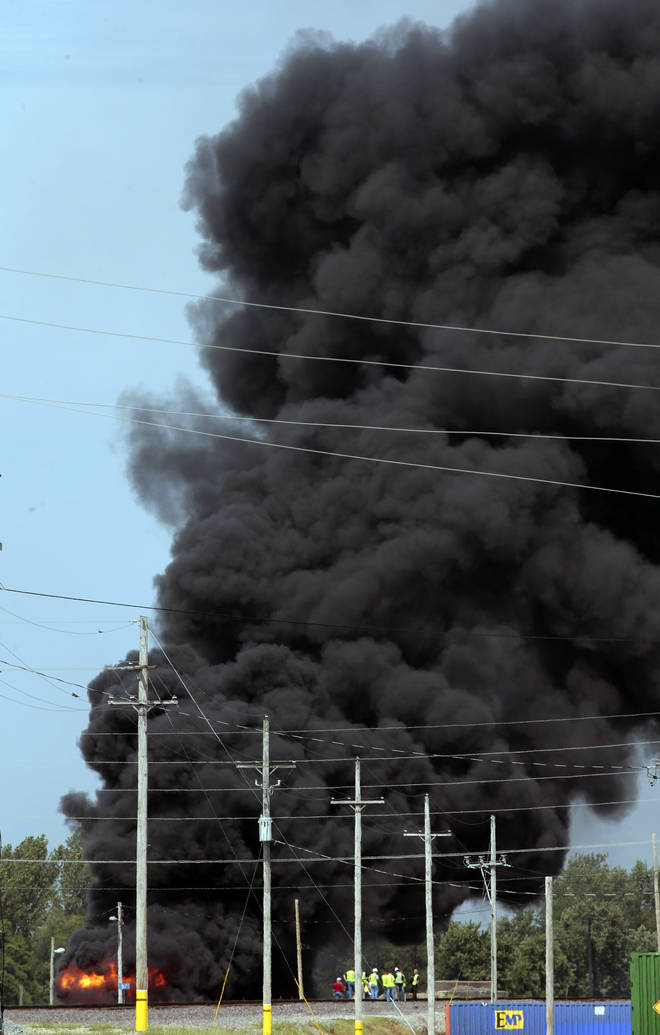 The plume of smoke has been seen as far as St Louis
