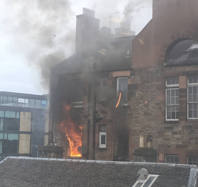 Huge flames poured from the Fountainbridge block
