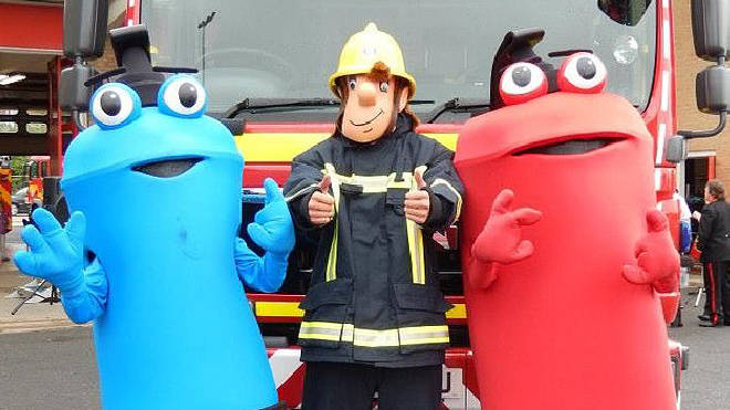 New mascots Freddy and Filbert with Fireman Sam
