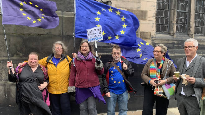 SNP MP Joanna Cherry and others outside the court in Scotland
