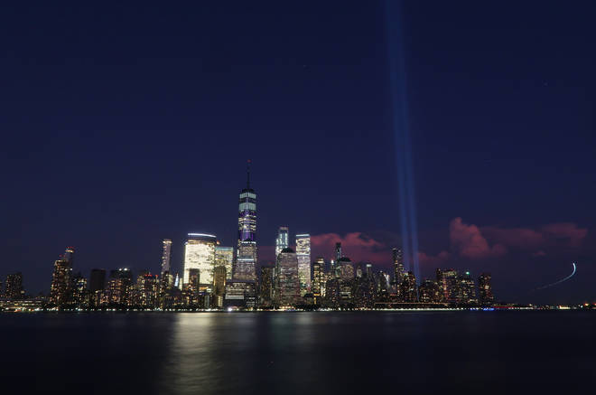 The Tribute in Light being tested in New York City to commemorate 9/11.