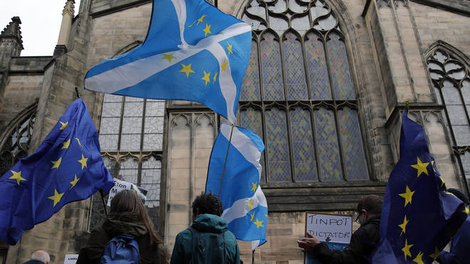 Protesters outside the Scottish court