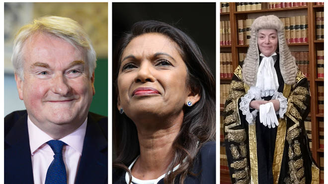 Left to right: The lord chief justice, Lord Burnett of Maldon, Gina Miller, and the president of the Queen's bench division, Dame Victoria Sharp