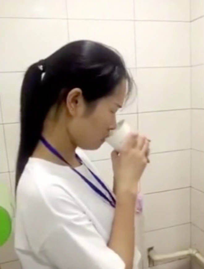 Workers were filmed drinking from the toilet.