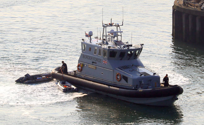Border Force vessel Speedwell arrives at the Port of Dover after small boats containing suspected migrant were intercepted in the Channel.