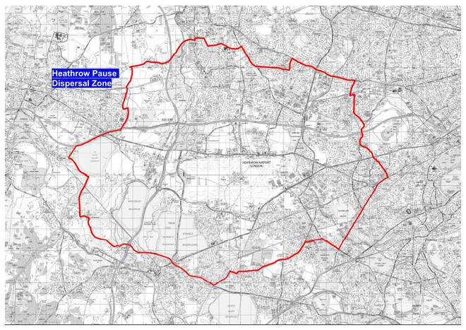 A map of the dispersal zone around Heathrow Airport