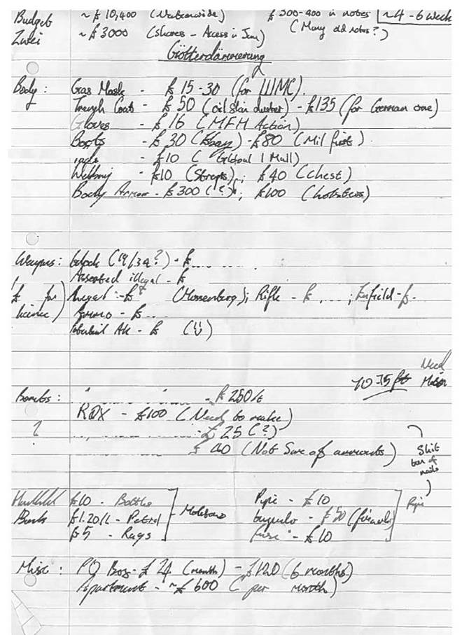 """The court were shown Davies&squot; """"shopping list"""", including body armour and a gas mask, which was used as evidence"""