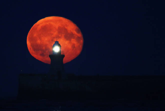 A harvest moon over Tyne and Wear in 2016