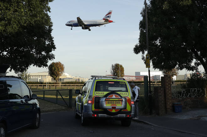 Police were seen patrolling the perimeter of Heathrow Airport ahead of planned protests