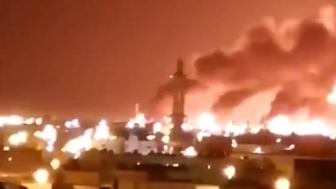 Videos have emerged online showing massive fires at the oil field