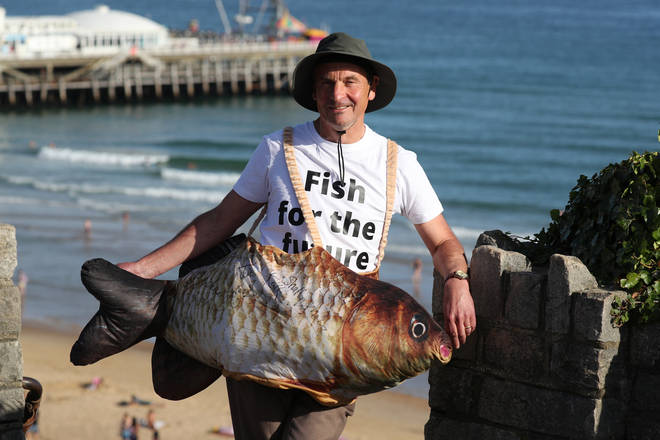 Chris Davies, Chair of the Fisheries Committee and MEP for North West of England, dressed up as a fish to launch and collect signatures for the 'Fish for the Future' campaign in Bournemouth.