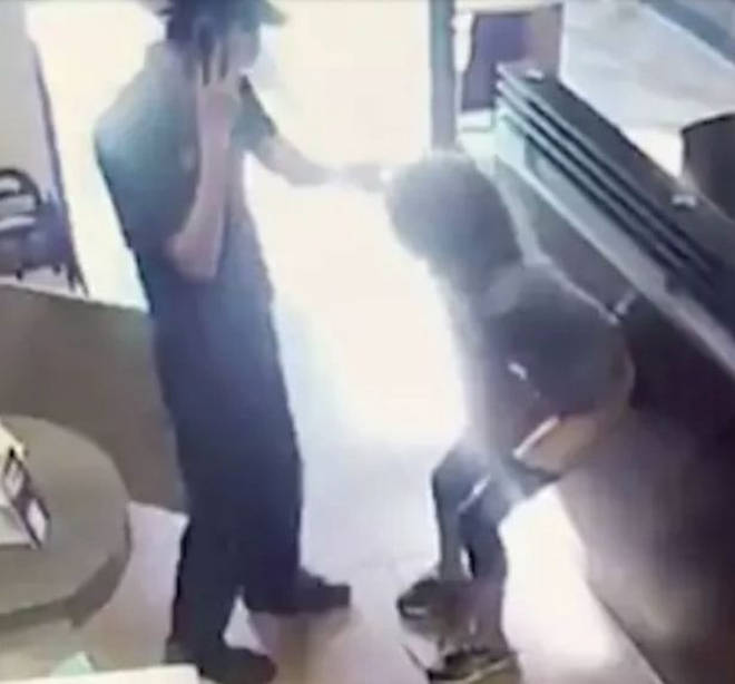 Woman poos on coffee shop floor
