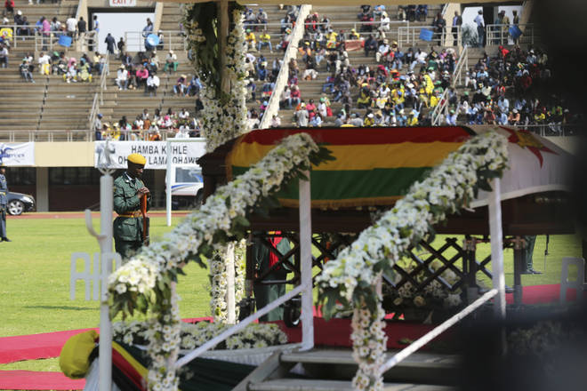 There were many empty seats as the state funeral for Robert Mugabe was held in Zimbabwe.