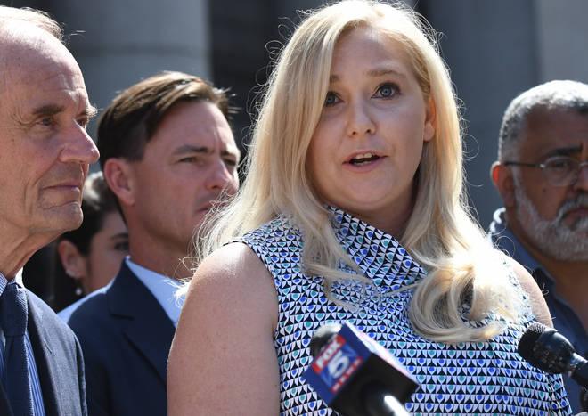 Epstein's alleged victim Virginia Roberts Giuffre outside court